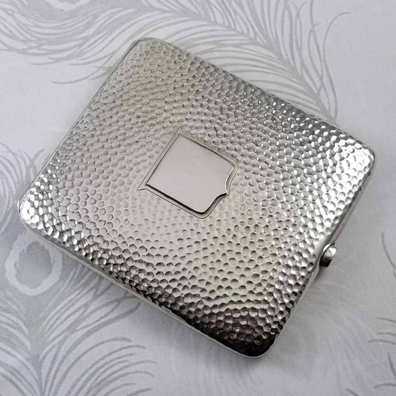 3.5 ounce Vintage Art Deco signed Webster sterling silver hand hammered cigarette case, tobacciana, smoking
