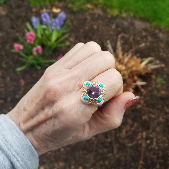 Modern estate 14k gold amethyst turquoise and white agate statement ring, cocktail ring, halo ring, size 9