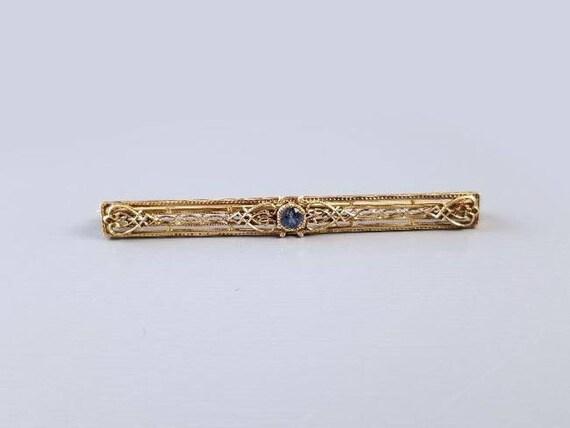 Antique Art Deco 1920s 14k gold filigree genuine blue sapphire bar pin brooch, signed Bippart Griscom & Osborn- (Newark, New Jersey)