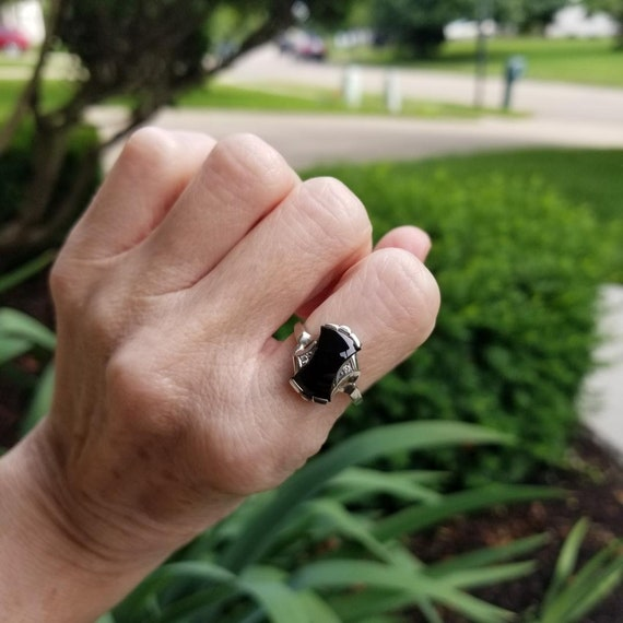 Vintage mid century estate 10k white gold asymmetrical bow shaped black onyx and diamond statement bypass ring, size 7, Helm & Hahn Co.