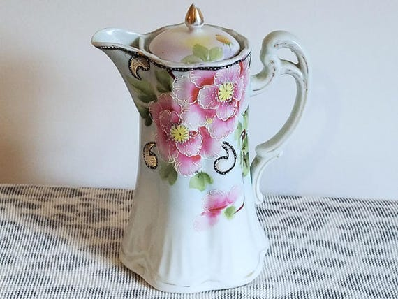 Antique Nippon Japan Te-Oh China hand painted porcelain ceramic lidded tea pot pitcher