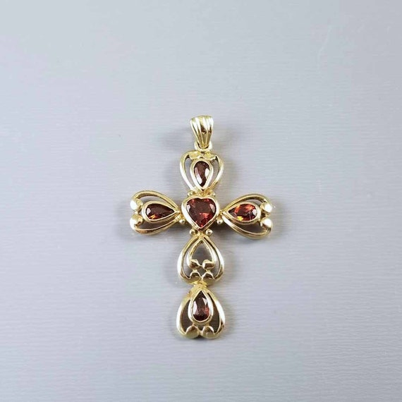 Modern contemporary 10k gold bezel set heart and pear shaped garnet cross pendant charm for necklace no chain
