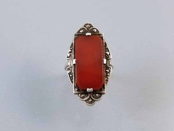 Antique early Art Deco 1920s sterling silver signed LCW carnelian marcasite statement ring with Greek key detail, size 4 pinky, pinkie ring