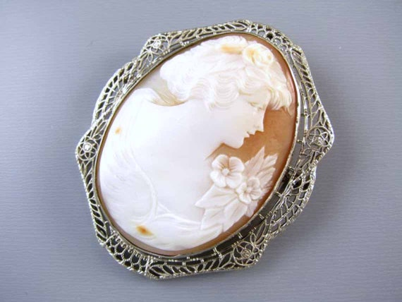 Vintage Art Deco 14K white gold filigree cameo brooch pin pendant necklace