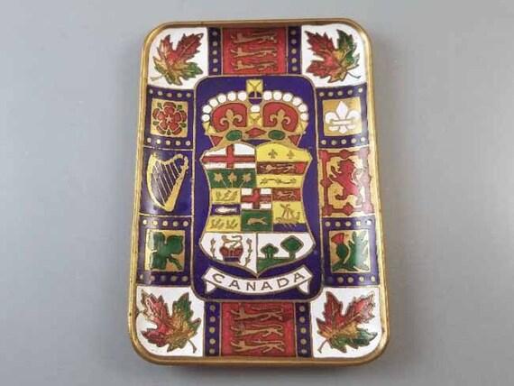 Antique Edwardian 1903 brass enamel Canadian coat of arms trinket tray, tip tray, ring tray, Canada
