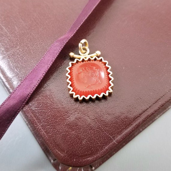 Antique Victorian gold filled orange carnelian glass intaglio cameo watch fob with zig zag pie crust frame, charm, pendant