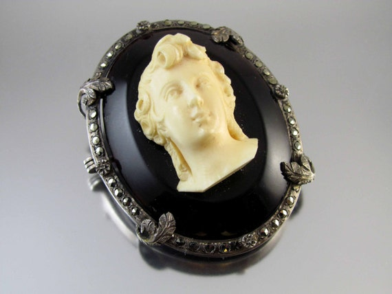 Antique Victorian sterling silver bone tortoise shell marcasite cameo brooch pin