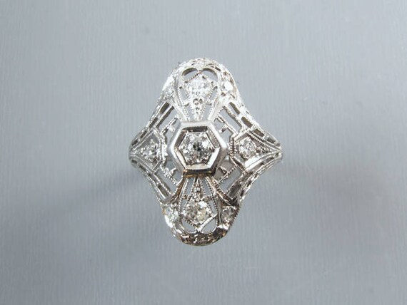 Art Deco nine .32ct diamond 18k white gold ring, size 7 / bridal / wedding / vintage engagement ring /engagement ring