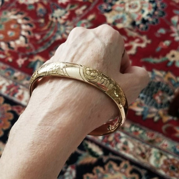 Antique Edwardian gold filled ornate engraved extra large size cuff bracelet, 7.5 inch, signed Totten Manufacturing Co North Attleboro, Mass