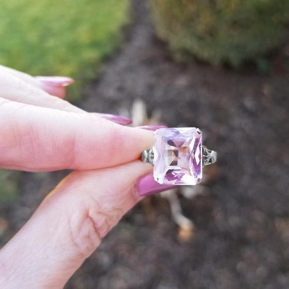 Vintage Art Deco 14k white gold cushion cut synthetic pink sapphire solitaire ring, size 7-1/4, maker signed Geoggroy & Co NY, NY