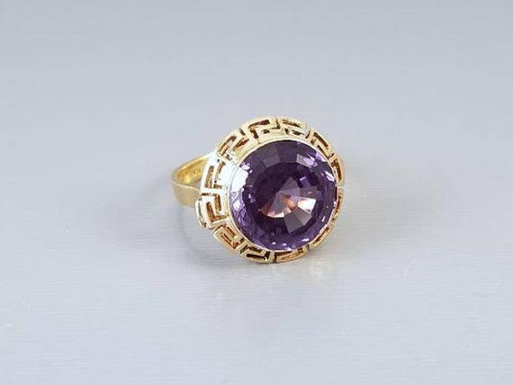 Vintage mid century estate French 18k gold color change alexandrite synthetic corundum Greek Key halo ring, statement ring, size 6-1/4
