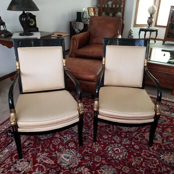Vintage mid century modern cream upholstered black lacquer gold dauphine Asian style chairs,Lewittes, of North Carolina NOT FREE SHIPPING