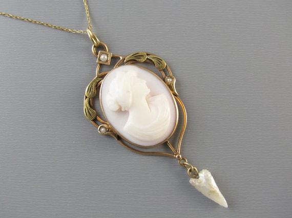 Antique Art Nouveau pink shell cameo 10k gold pearl lavalier pendant necklace larger size