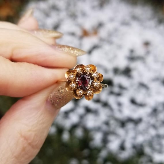 Antique Edwardian 14k gold pear shaped garnet and seed pearl halo ring, size 7-1/4, conversion made from antique earrings