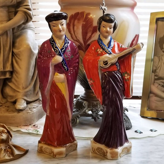 Pair of vintage Japanese hand painted man and woman figurines, ceramic, pottery, Asian, Oriental, Japan