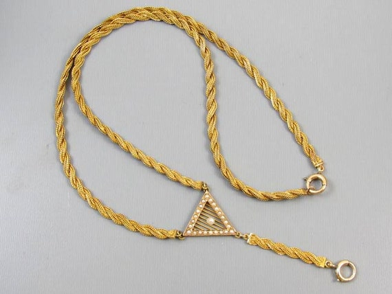 Antique early Art Deco 1920s 14k braided woven gold seed pearl Y necklace for pendant, lapel watch, pendant watch, lavalier