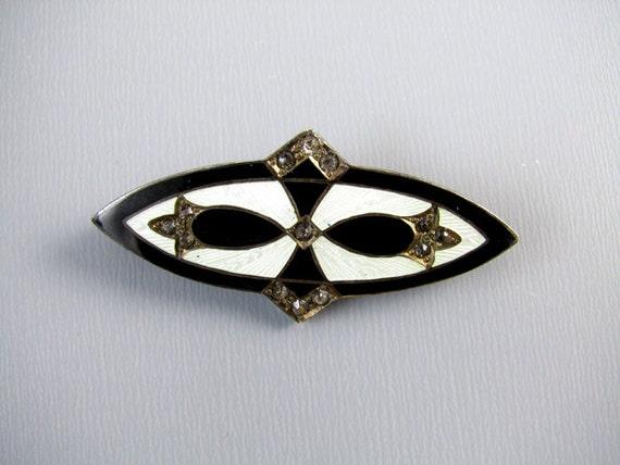 Vintage Art Deco sterling silver white guilloche and black taille de epargne enamel rhinestone paste brooch pin