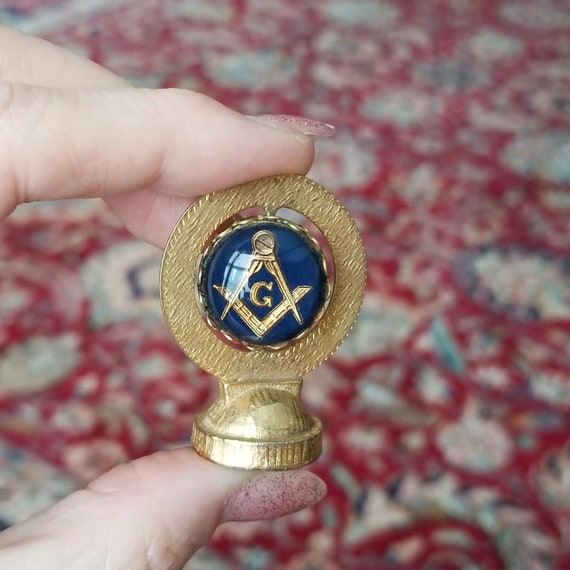 Vintage mid century Masonic brass glass and enamel car dashboard ornament spinner magnet, dash board, magnetic, automobile