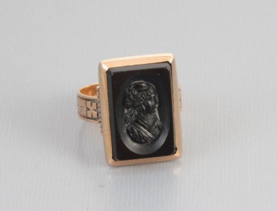 Stunning antique Victorian black onyx cameo 10k rose pink gold ring