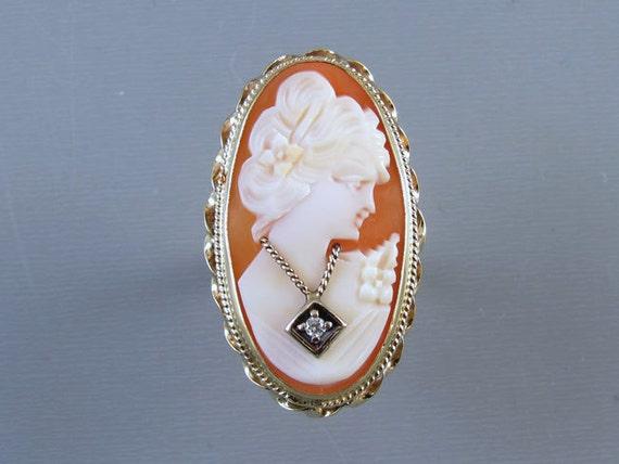MASSIVE vintage estate 14k gold cameo En Habille diamond ring, size 7, statement ring, cocktail ring