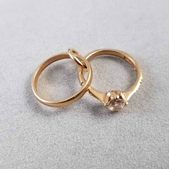 Estate 14k gold English made Birmingham wedding ring engagement ring charm date letter 1992, charm, pendant, necklace, bridal, bride