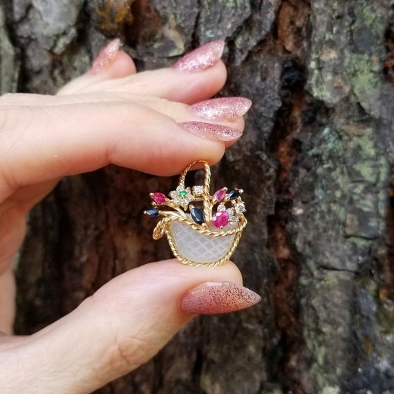 Vintage estate 14k gold flower basket brooch pin pendant, gardinetto, giardinetto, giardinetti, mother of pearl, ruby, sapphire, diamond