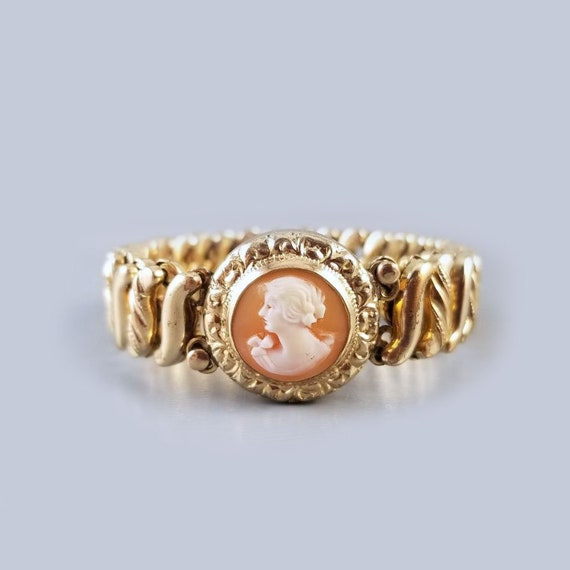 Vintage Art Deco gold filled stretch expansion cameo sweetheart bracelet, signed Carmen D.F. Briggs Co.