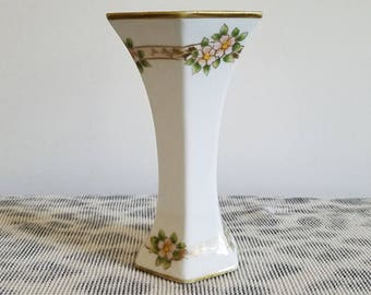 Vintage Art Deco Nippon Japan hand painted porcelain ceramic hexagon bud vase