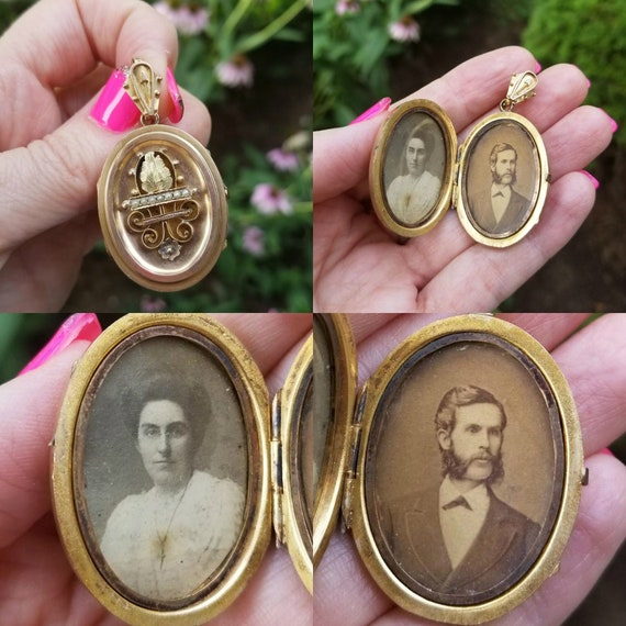 Rare large antique late Victorian 10k mutli color gold with seed pearls lovers locket with sepia tone photograhs of couple, 1890s