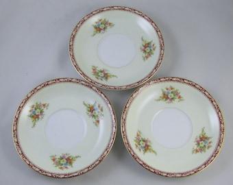 Set of 3 vintage saucers hand painted  Noritake Occupied Japan Komaru 1947 mark, porcelain, china, bone china, tea time, high tea, tea party