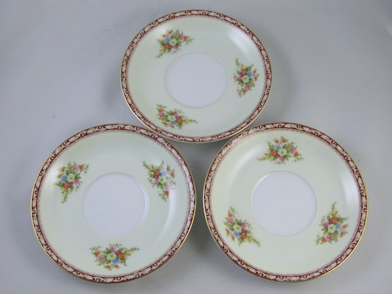 Set of 3 vintage saucers hand painted  Noritake Occupied Japan Komaru 1947 mark, porcelain, china, bone china, tea time, high tea, tea party