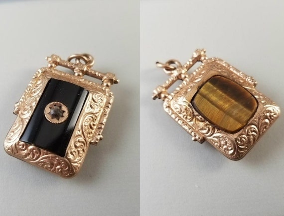 Antique Victorian rose gold filled double sided tiger eye quartz black onyx watch fob charm, pendant