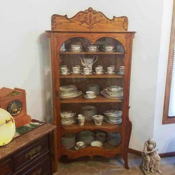 Antique Edwardian ornate oak china cabinet, china hutch, curved glass sides, curio cabinet, cupboard, display case