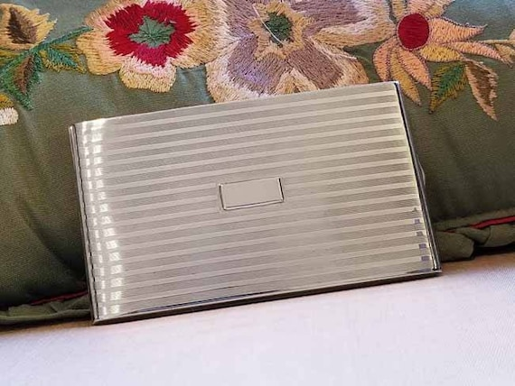 6.1 ounce Vintage Art Deco signed Napier sterling silver cigarette case, tobacciana, smoking, business card case