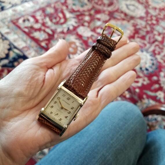 Vintage mid century gold filled Longines Wittnauer Swiss tank wrist watch circa 1940-50