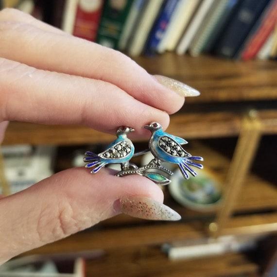 Vintage sterling silver enamel marcasite and garnet love birds brooch pin