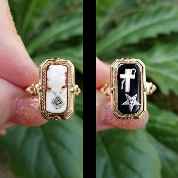 Antique Art Deco 10k gold black onyx and cameo diamond habille flip ring, size 6.5, Eastern Star, Masonic, cross ring, cameo ring