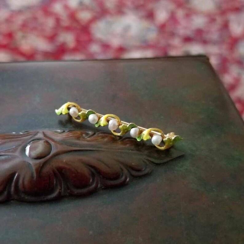 signed Krementz Antique Edwardian Art Nouveau 14k gold enamel and pearl bar pin brooch