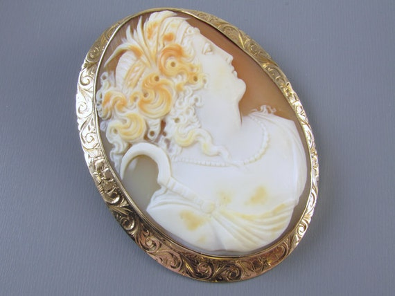 LARGE dated 1913 antique Edwardian rose gold cameo brooch pin pendant signed Untermeyer Robbins Company