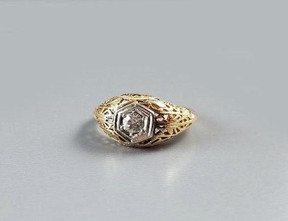 Vintage Art Deco 14k .16 carat diamond solitaire filigree engagement ring, size 6-1/2