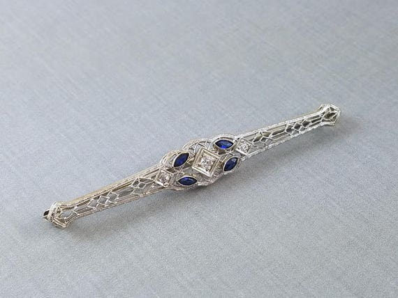 Antique Art Deco 14k white gold European cut diamond and blue sapphire marquise filigree bar pin brooch