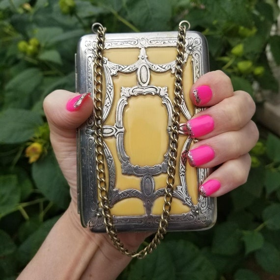Antique Edwardian to early Art Deco transitional celluloid and silver necessaire handbag chain purse, coin purse, powder, compact, mirror