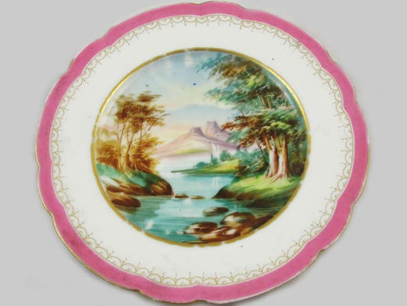 Vintage hand painted decorative scenic serving plate / porcelain / china / bone china / shabby chic / home decor