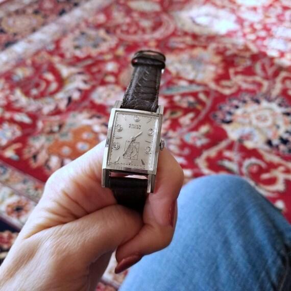 Vintage mid century 14k white gold Gruen Curvex diamond dial faceted tank wrist watch circa 1940-50