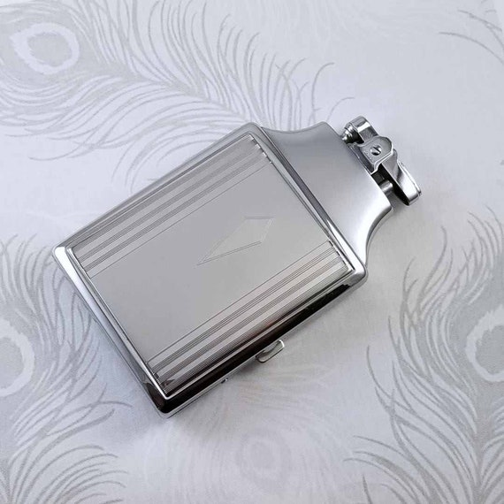 Cigarette case lighter Ronson chrome vintage Art Deco unused, new old stock, nos, tobacciana, smoking, collectibles, man cave, TEC 153