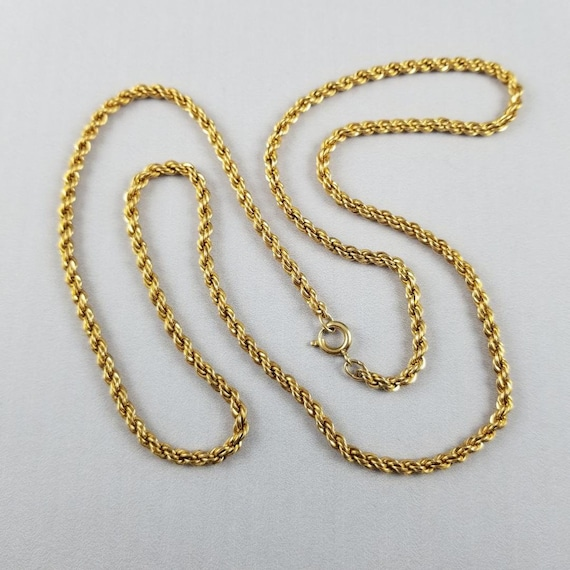 """Vintage NOS new old stock 24.5"""" gold filled necklace, pendant, chain, jewelry supply, replacement chain, twisted curb link, neck chain"""
