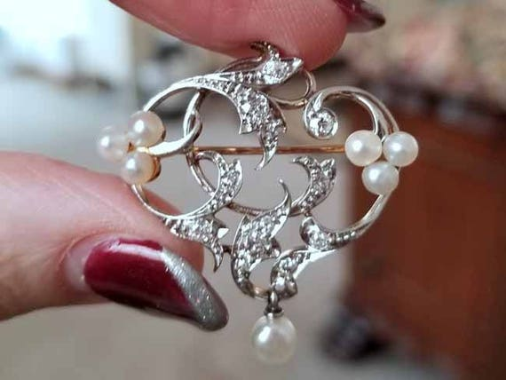 Edwardian Belle Epoque 14k platinum half carat diamond pearl witches heart brooch pendant Signed Henry Blank