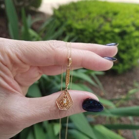 Antique Art Deco 10K gold diamond filigree long drop lavalier pendant necklace