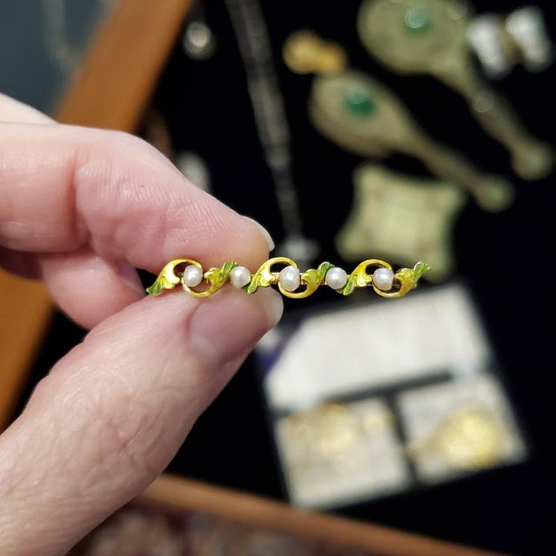 Antique Edwardian Art Nouveau 14k gold enamel and pearl bar pin brooch signed Krementz /& Company