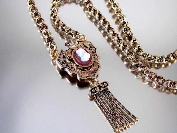 Antique Victorian rose 10k gold taille de epargne black enamel hardstone carnelian cameo tassel fringe necklace